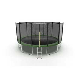 JUMP External 16ft (Green) Батут с внешней сеткой и лестницей, диаметр 16ft (зеленый)