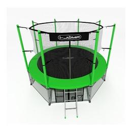 Батут i-JUMP Classic 12ft (3,66 м.) с нижней сетью и лестницей (green)