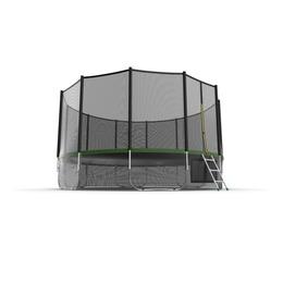 JUMP External 16ft (Green) + Lower net. Батут с внешней сеткой и лестницей, диаметр 16ft (зеленый) + нижняя сеть