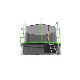 JUMP Internal 12ft (Green) + Lower net. Батут с внутренней сеткой и лестницей, диаметр 12ft (зеленый) + нижняя сеть