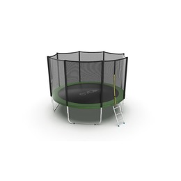 JUMP External 12ft (Green) Батут с внешней сеткой и лестницей, диаметр 12ft (зеленый)