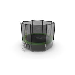 JUMP External 12ft (Green) + Lower net. Батут с внешней сеткой и лестницей, диаметр 12ft (зеленый) + нижняя сеть