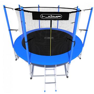 Батут i-JUMP Classic 8ft (2,44 м.) с нижней сетью и лестницей (blue)