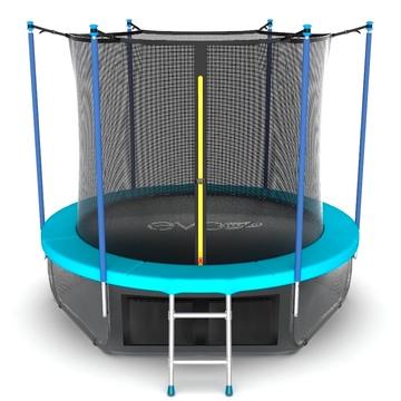 JUMP Internal 6ft (Wave). Батут с внутренней сеткой и лестницей, диаметр 6ft (морская волна) + нижняя сеть